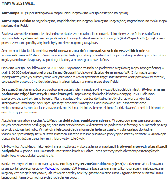 Centrumkierowcy Automapa Xl Polska Box Elektroniczny Automapa