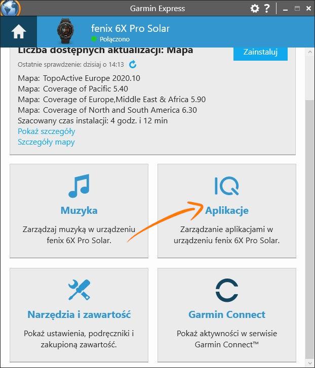 Garmin Express zakładka aplikacje