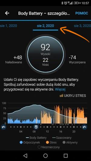 Szczególowe dane z Body Battery w zegarku Garmin